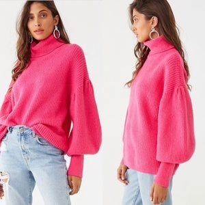 Forever 21 Pink Balloon Sleeve Sweater